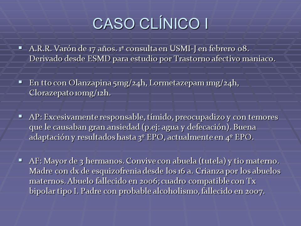 CASO CLÍNICO I A.R.R. Varón de 17 años. 1ª consulta en USMI-J en febrero 08. Derivado desde ESMD para estudio por Trastorno afectivo maniaco. A.R.R. V