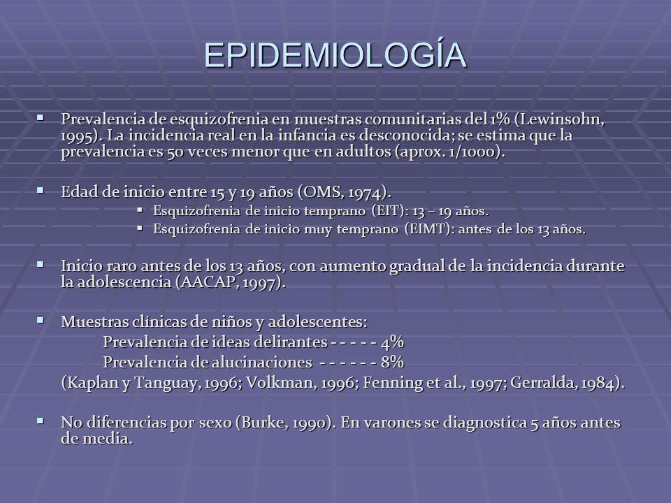 EPIDEMIOLOGÍA Prevalencia de esquizofrenia en muestras comunitarias del 1% (Lewinsohn, 1995). La incidencia real en la infancia es desconocida; se est