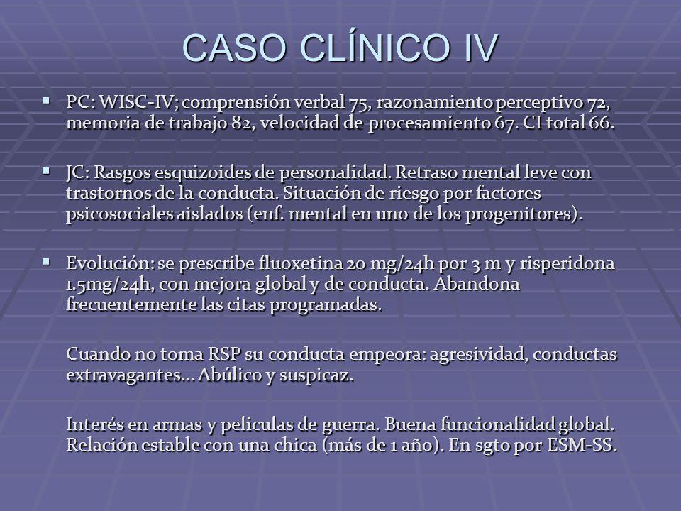 CASO CLÍNICO IV PC: WISC-IV; comprensión verbal 75, razonamiento perceptivo 72, memoria de trabajo 82, velocidad de procesamiento 67. CI total 66. PC: