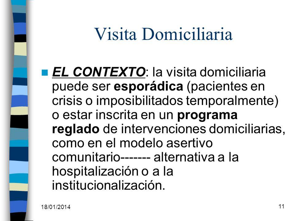 18/01/2014 11 Visita Domiciliaria EL CONTEXTO: la visita domiciliaria puede ser esporádica (pacientes en crisis o imposibilitados temporalmente) o est