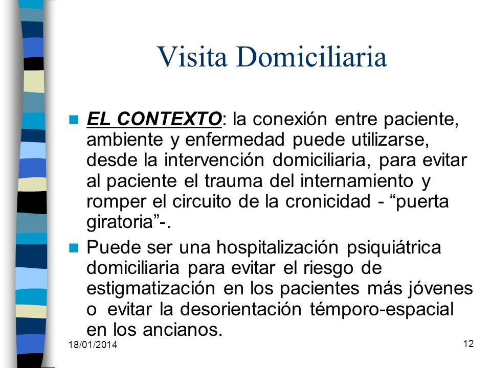 18/01/2014 12 Visita Domiciliaria EL CONTEXTO: la conexión entre paciente, ambiente y enfermedad puede utilizarse, desde la intervención domiciliaria,