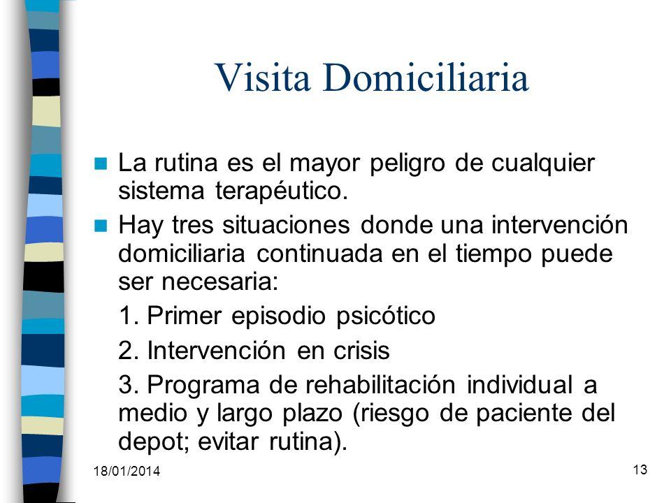 18/01/2014 13 Visita Domiciliaria La rutina es el mayor peligro de cualquier sistema terapéutico. Hay tres situaciones donde una intervención domicili
