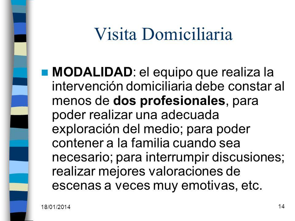 18/01/2014 14 Visita Domiciliaria MODALIDAD: el equipo que realiza la intervención domiciliaria debe constar al menos de dos profesionales, para poder
