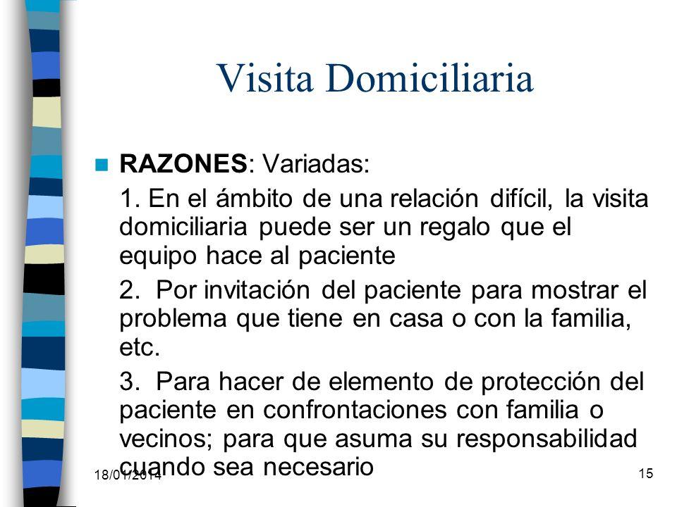 18/01/2014 15 Visita Domiciliaria RAZONES: Variadas: 1. En el ámbito de una relación difícil, la visita domiciliaria puede ser un regalo que el equipo