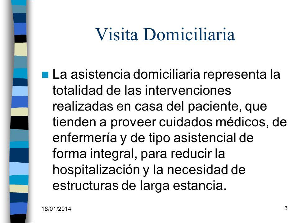 18/01/2014 3 Visita Domiciliaria La asistencia domiciliaria representa la totalidad de las intervenciones realizadas en casa del paciente, que tienden