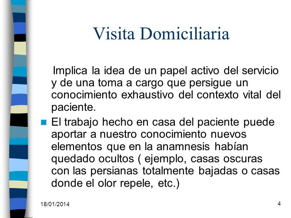 18/01/2014 4 Visita Domiciliaria Implica la idea de un papel activo del servicio y de una toma a cargo que persigue un conocimiento exhaustivo del con