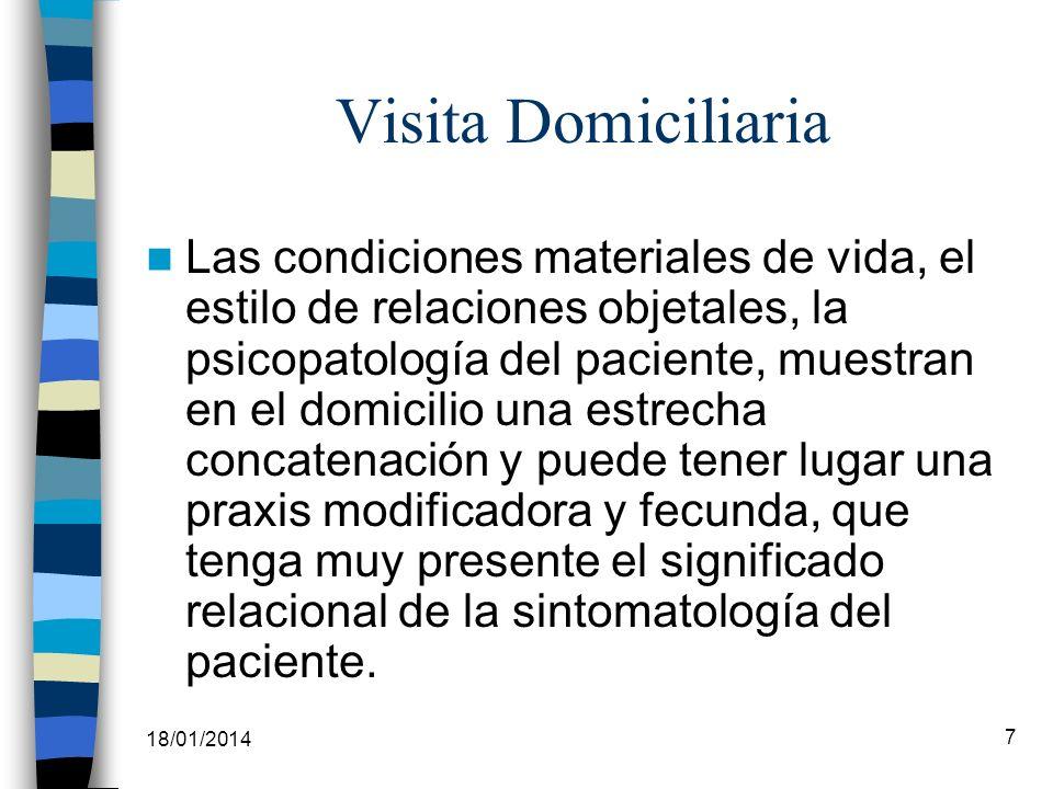 18/01/2014 7 Visita Domiciliaria Las condiciones materiales de vida, el estilo de relaciones objetales, la psicopatología del paciente, muestran en el