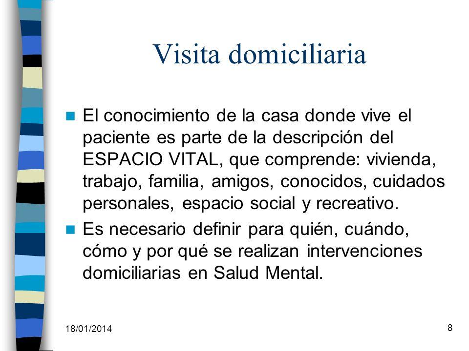 18/01/2014 8 Visita domiciliaria El conocimiento de la casa donde vive el paciente es parte de la descripción del ESPACIO VITAL, que comprende: vivien