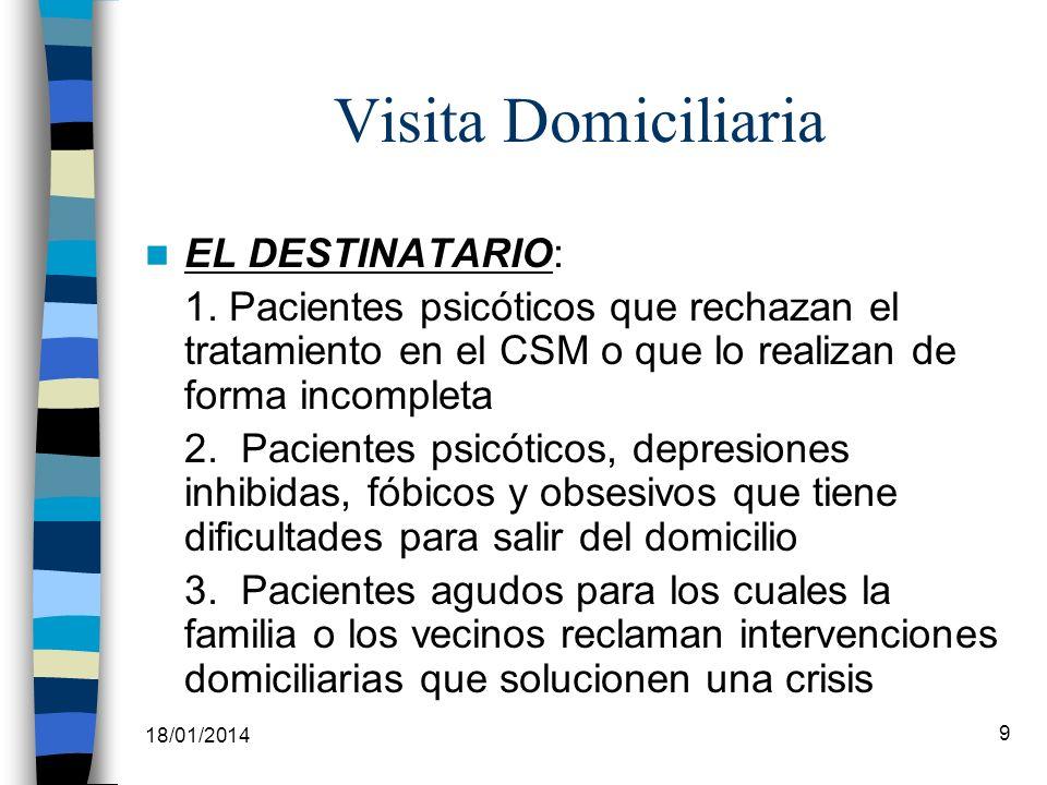 18/01/2014 9 Visita Domiciliaria EL DESTINATARIO: 1. Pacientes psicóticos que rechazan el tratamiento en el CSM o que lo realizan de forma incompleta