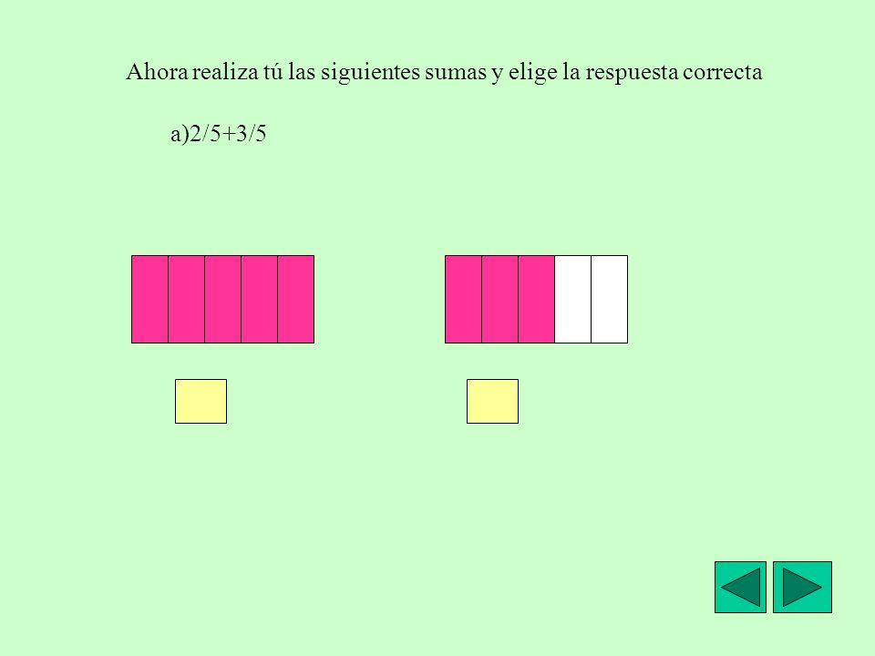 Suma de fracciones con igual denominador. Vamos a calcular en cada caso la suma de la fracción que representa la parte azul y la fracción que represen