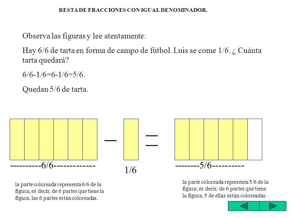 Para sumar fracciones que tienen el mismo denominador, se suman los numeradores y se pone el mismo denominador.