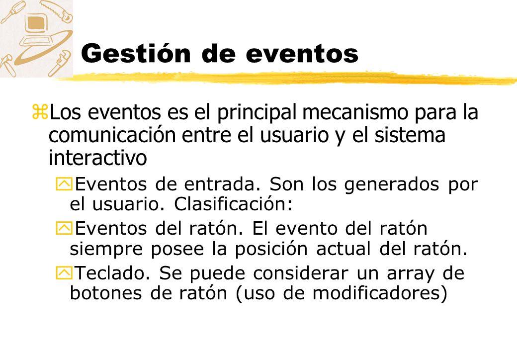 Gestión de eventos zLos eventos es el principal mecanismo para la comunicación entre el usuario y el sistema interactivo yEventos de entrada. Son los