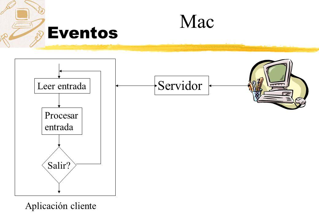 Eventos Servidor Leer entrada Procesar entrada Salir? Aplicación cliente Mac