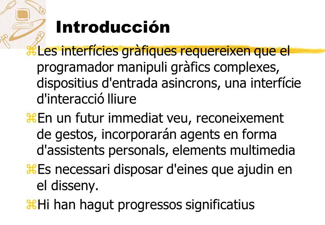 Introducción zLes interfícies gràfiques requereixen que el programador manipuli gràfics complexes, dispositius d'entrada asincrons, una interfície d'i