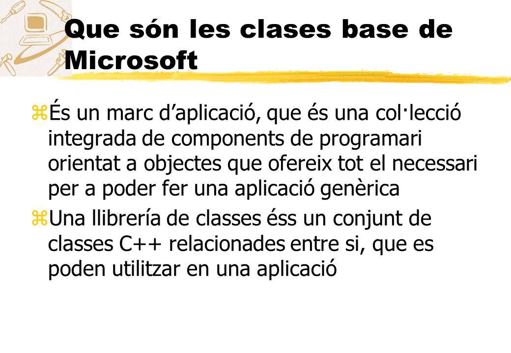 Que són les clases base de Microsoft zÉs un marc daplicació, que és una col·lecció integrada de components de programari orientat a objectes que ofere