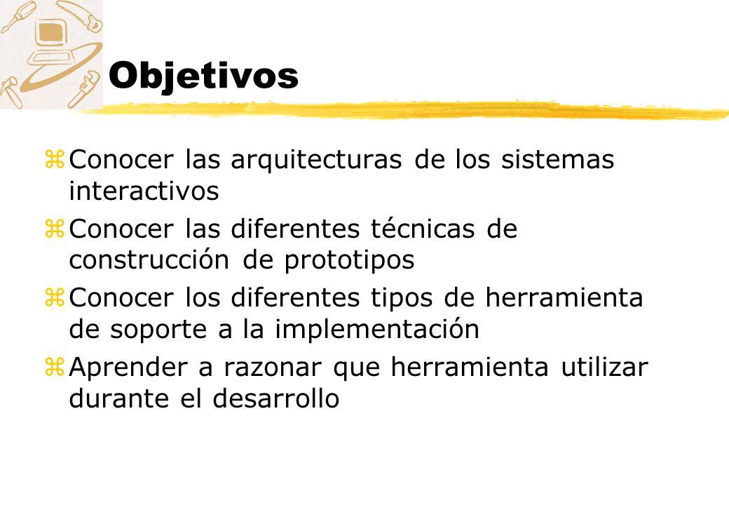 Objetivos zConocer las arquitecturas de los sistemas interactivos zConocer las diferentes técnicas de construcción de prototipos zConocer los diferent