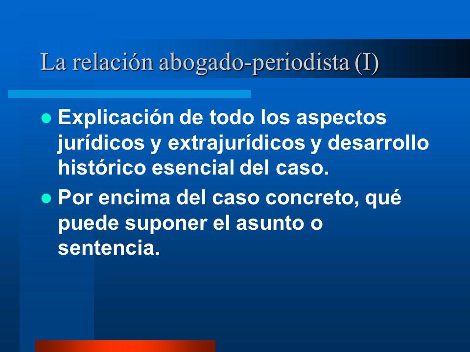 La relación abogado-periodista (I) Explicación de todo los aspectos jurídicos y extrajurídicos y desarrollo histórico esencial del caso.
