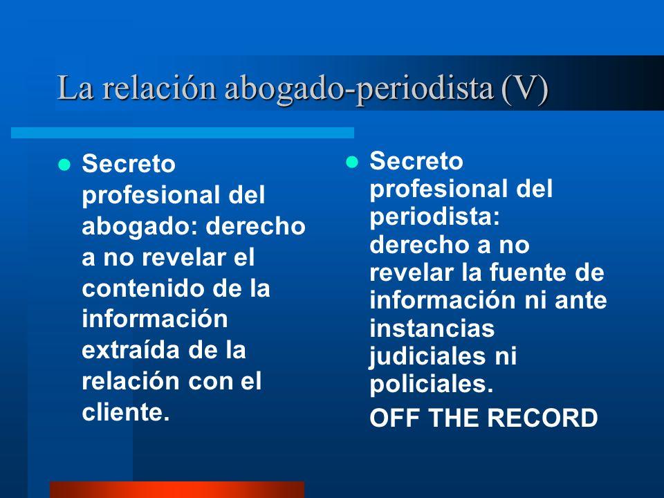 La relación abogado-periodista (V) Secreto profesional del abogado: derecho a no revelar el contenido de la información extraída de la relación con el cliente.