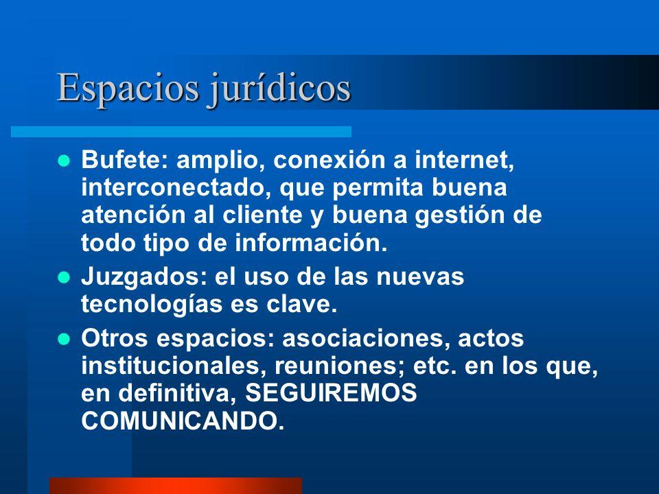 Espacios jurídicos Bufete: amplio, conexión a internet, interconectado, que permita buena atención al cliente y buena gestión de todo tipo de información.