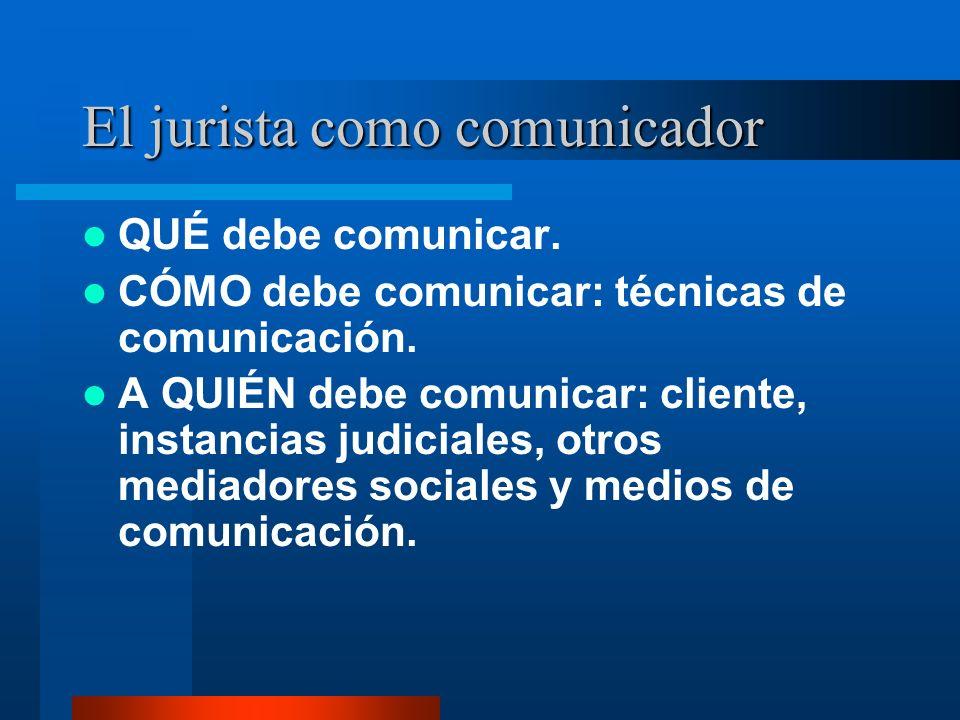 El jurista como comunicador QUÉ debe comunicar. CÓMO debe comunicar: técnicas de comunicación.