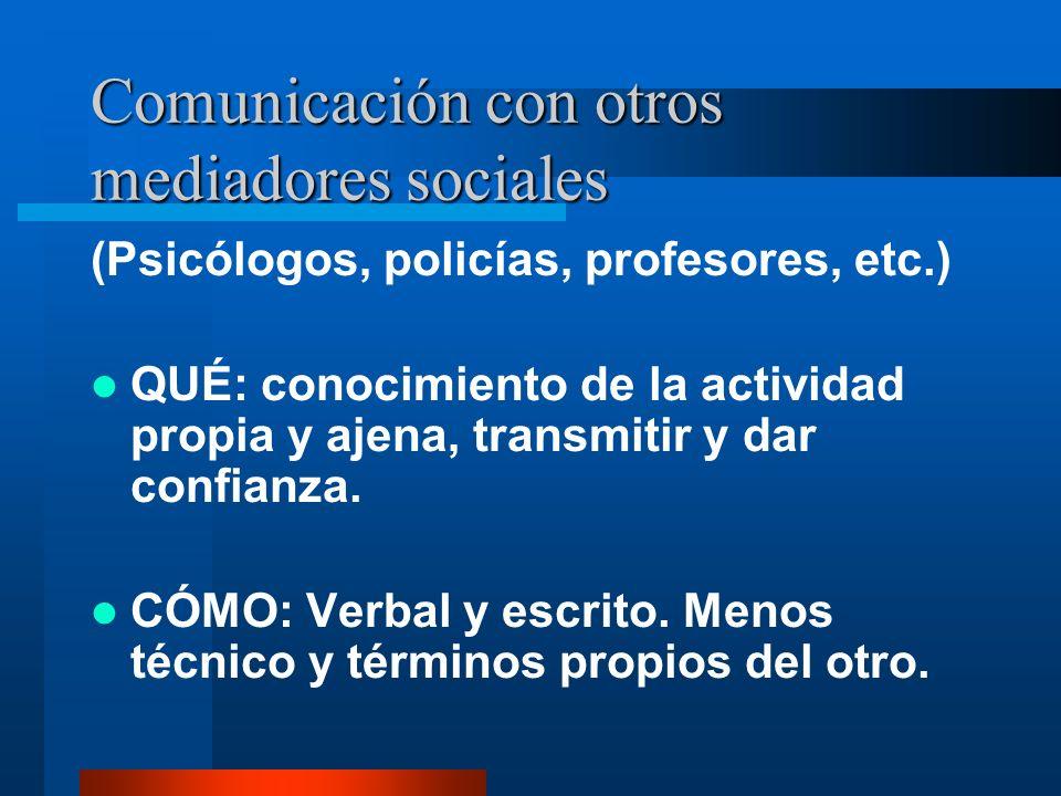 Comunicación con otros mediadores sociales (Psicólogos, policías, profesores, etc.) QUÉ: conocimiento de la actividad propia y ajena, transmitir y dar confianza.