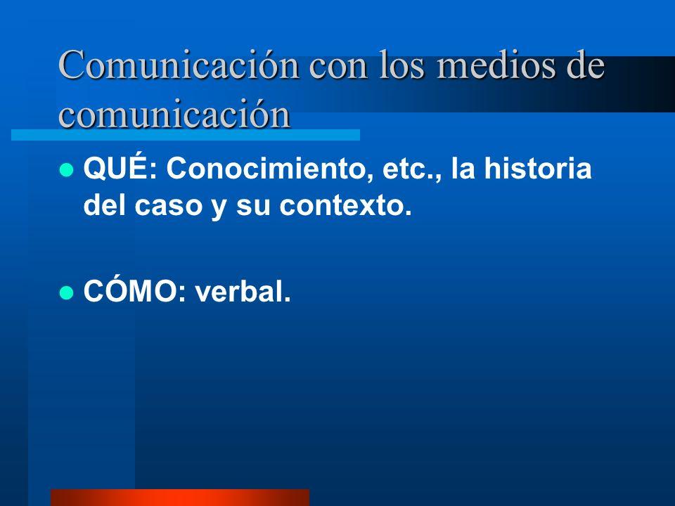 Comunicación con los medios de comunicación QUÉ: Conocimiento, etc., la historia del caso y su contexto.