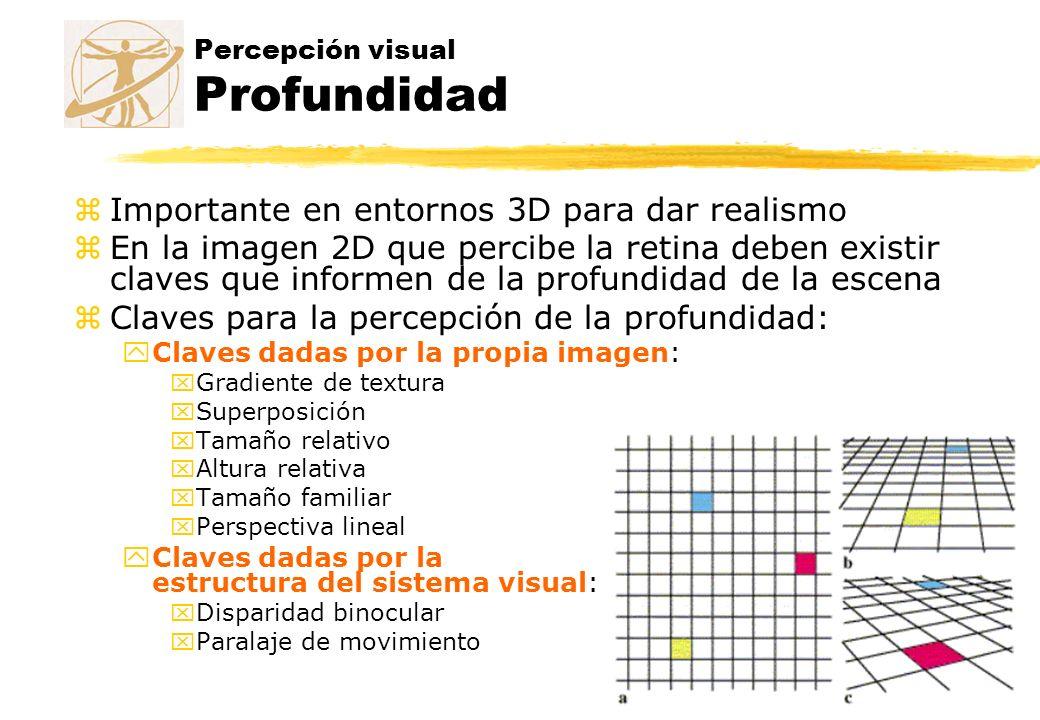 Percepción visual Profundidad zImportante en entornos 3D para dar realismo zEn la imagen 2D que percibe la retina deben existir claves que informen de