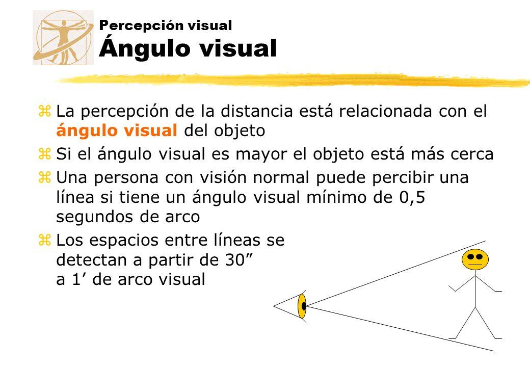 Percepción visual Ángulo visual zLa percepción de la distancia está relacionada con el ángulo visual del objeto zSi el ángulo visual es mayor el objet