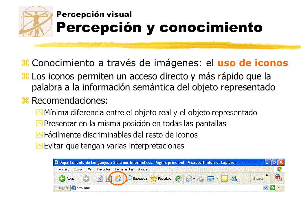 Percepción visual Percepción y conocimiento zConocimiento a través de imágenes: el uso de iconos zLos iconos permiten un acceso directo y más rápido q