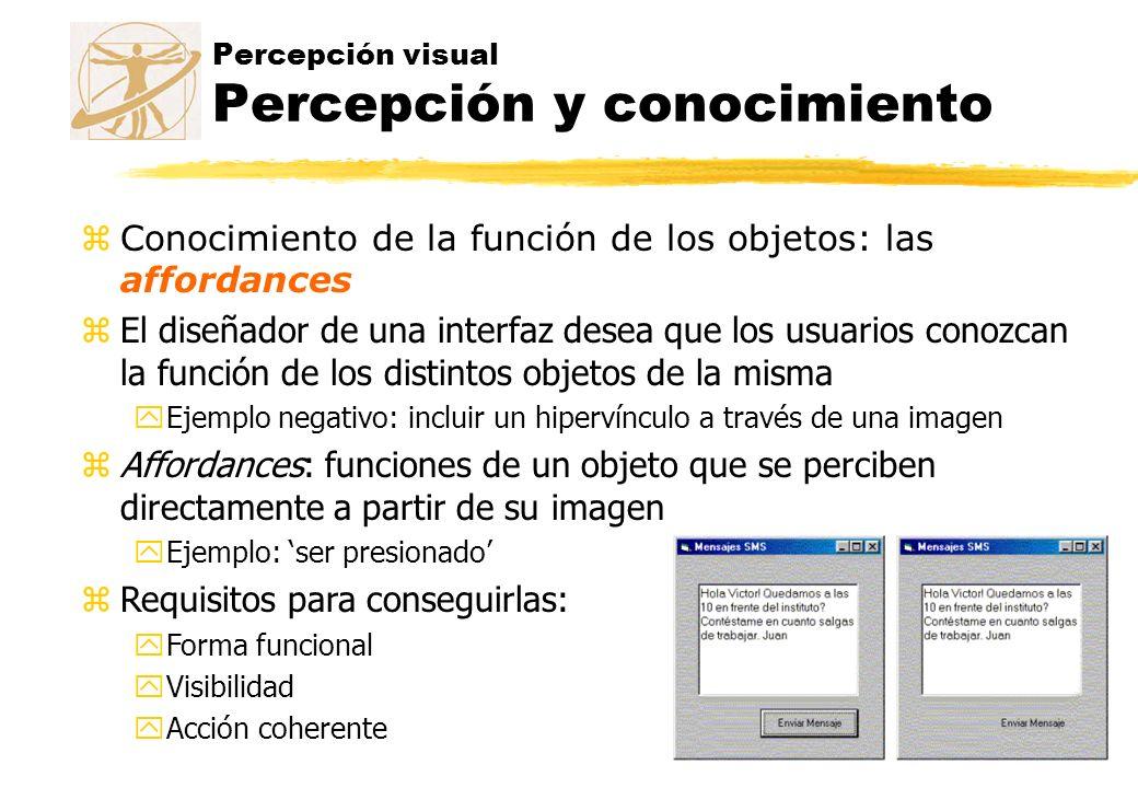 Percepción visual Percepción y conocimiento zConocimiento de la función de los objetos: las affordances zEl diseñador de una interfaz desea que los us