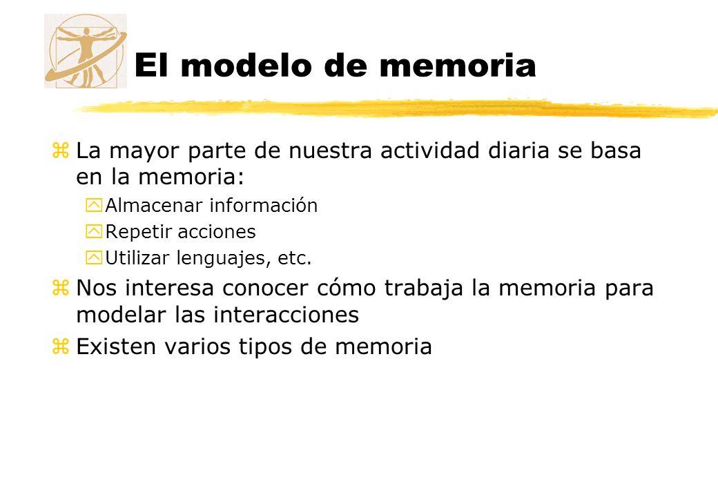 El modelo de memoria zLa mayor parte de nuestra actividad diaria se basa en la memoria: yAlmacenar información yRepetir acciones yUtilizar lenguajes,