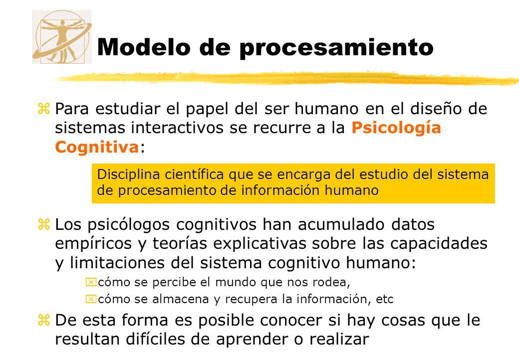 Modelo de procesamiento zPara estudiar el papel del ser humano en el diseño de sistemas interactivos se recurre a la Psicología Cognitiva: Disciplina