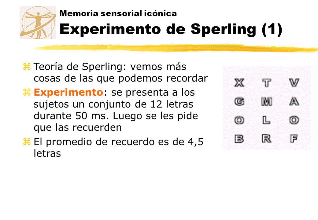 Memoria sensorial icónica Experimento de Sperling (1) zTeoría de Sperling: vemos más cosas de las que podemos recordar zExperimento: se presenta a los