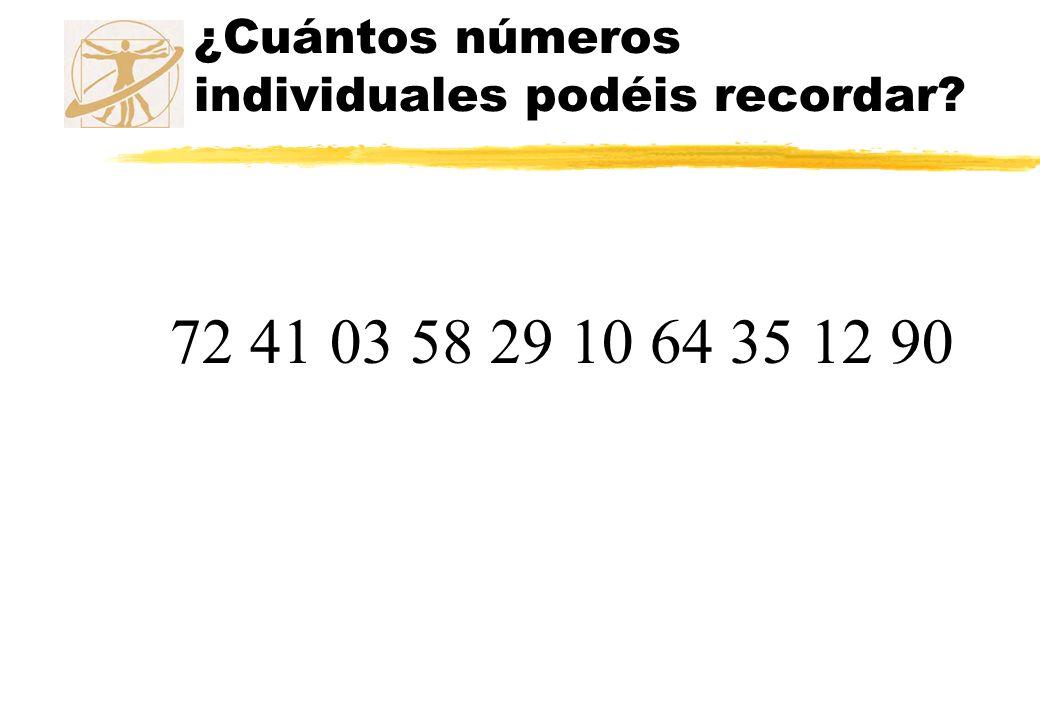 ¿Cuántos números individuales podéis recordar?