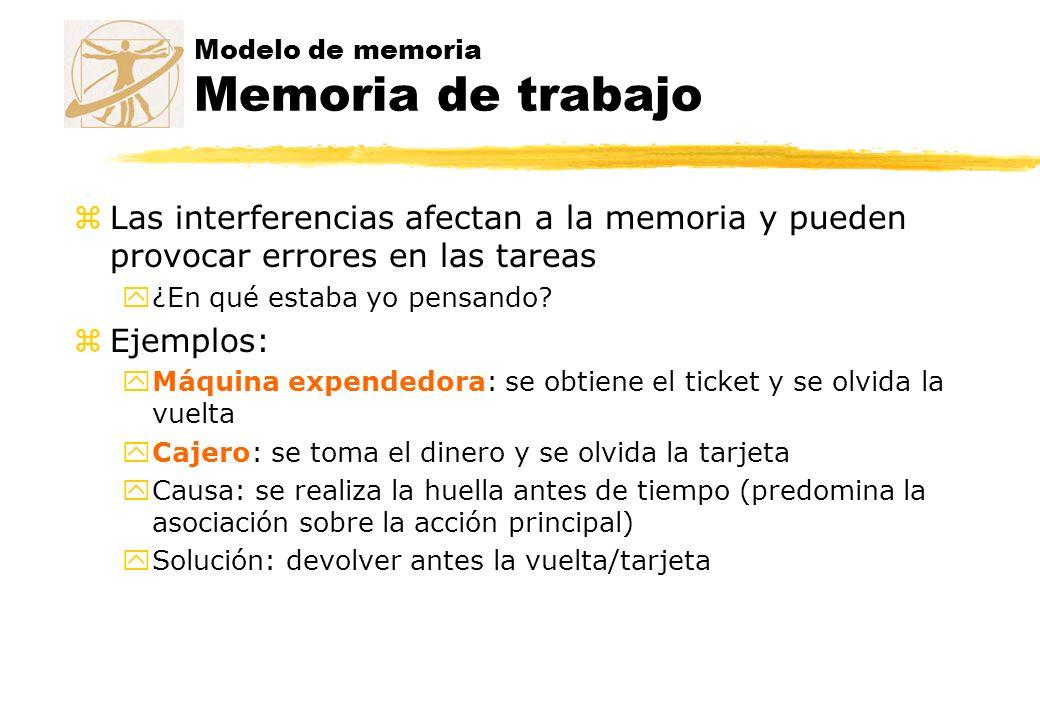 Modelo de memoria Memoria de trabajo zLas interferencias afectan a la memoria y pueden provocar errores en las tareas y¿En qué estaba yo pensando? zEj