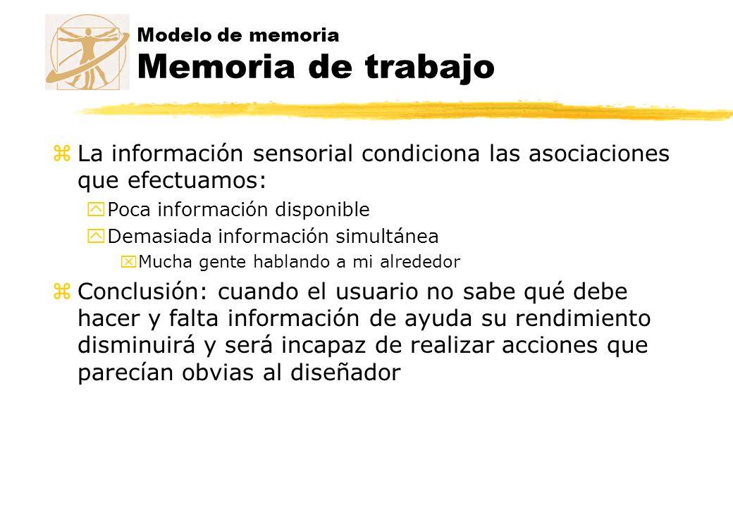 Modelo de memoria Memoria de trabajo zLa información sensorial condiciona las asociaciones que efectuamos: yPoca información disponible yDemasiada inf