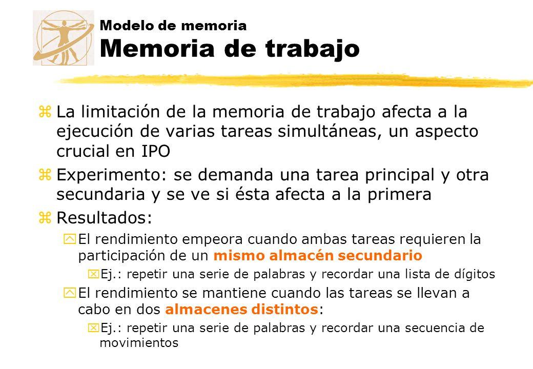 Modelo de memoria Memoria de trabajo zLa limitación de la memoria de trabajo afecta a la ejecución de varias tareas simultáneas, un aspecto crucial en