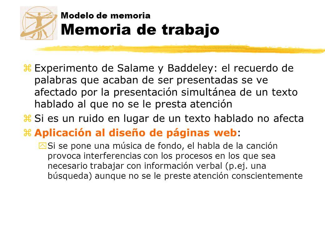 Modelo de memoria Memoria de trabajo zExperimento de Salame y Baddeley: el recuerdo de palabras que acaban de ser presentadas se ve afectado por la pr