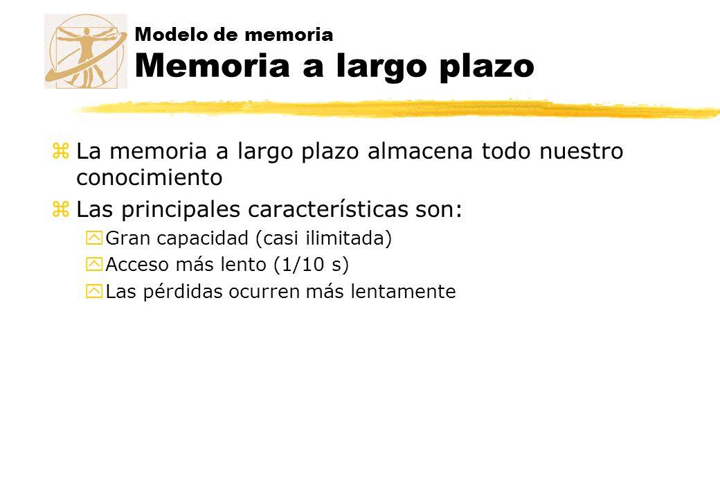 Modelo de memoria Memoria a largo plazo zLa memoria a largo plazo almacena todo nuestro conocimiento zLas principales características son: yGran capac
