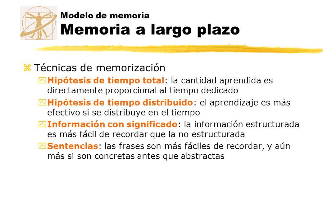 Modelo de memoria Memoria a largo plazo zTécnicas de memorización yHipótesis de tiempo total: la cantidad aprendida es directamente proporcional al ti