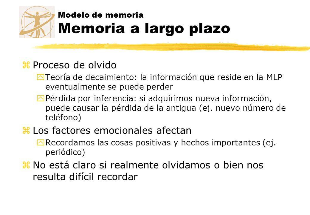 Modelo de memoria Memoria a largo plazo zProceso de olvido yTeoría de decaimiento: la información que reside en la MLP eventualmente se puede perder y