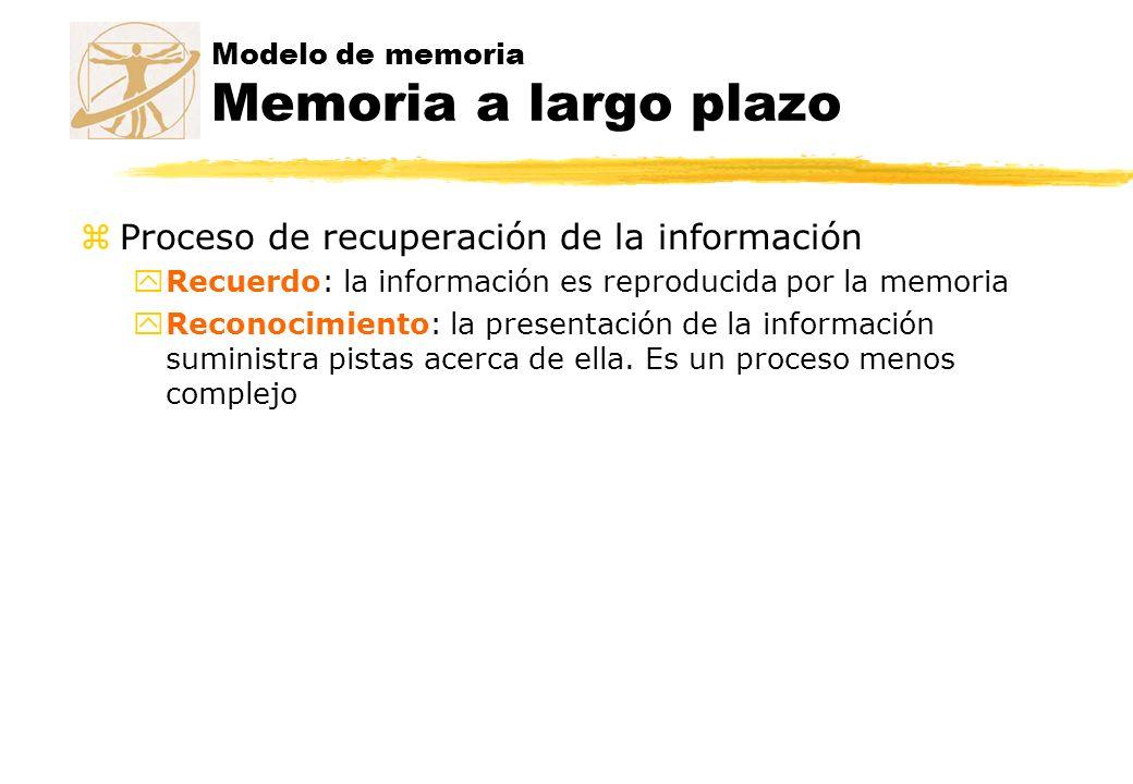 Modelo de memoria Memoria a largo plazo zProceso de recuperación de la información yRecuerdo: la información es reproducida por la memoria yReconocimi