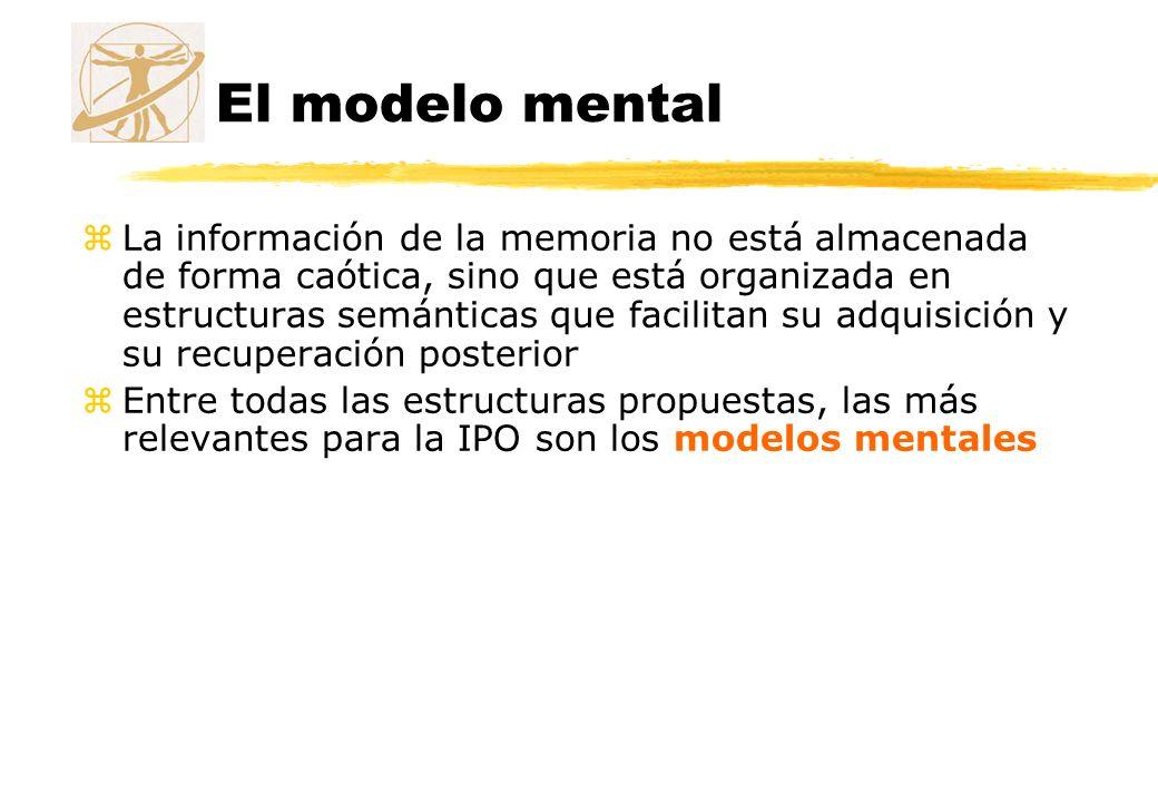El modelo mental zLa información de la memoria no está almacenada de forma caótica, sino que está organizada en estructuras semánticas que facilitan s