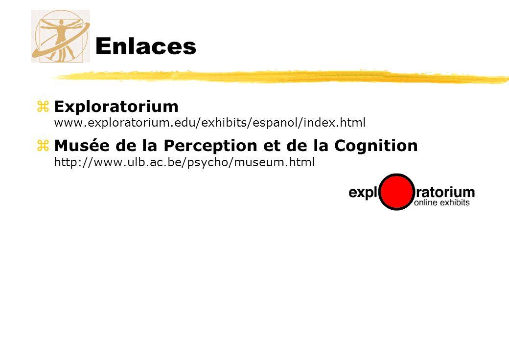 Enlaces zExploratorium www.exploratorium.edu/exhibits/espanol/index.html zMusée de la Perception et de la Cognition http://www.ulb.ac.be/psycho/museum