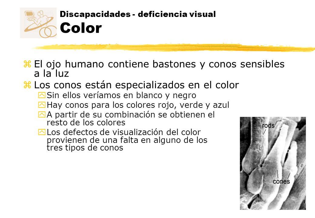 Discapacidades - deficiencia visual Color z El ojo humano contiene bastones y conos sensibles a la luz z Los conos están especializados en el color y