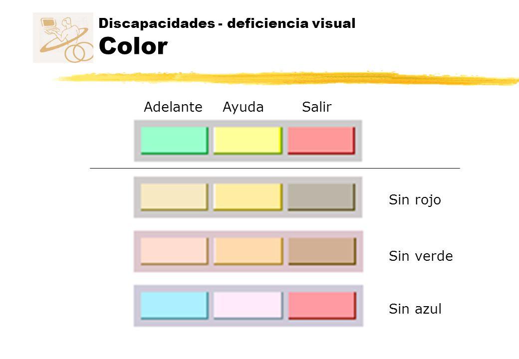 Discapacidades - deficiencia visual Color SalirAyudaAdelante Sin azul Sin rojo Sin verde