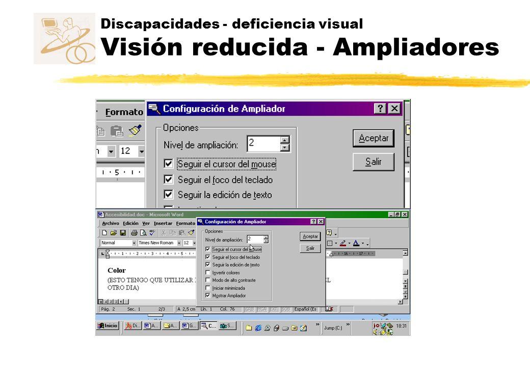 Discapacidades - deficiencia visual Visión reducida - Ampliadores