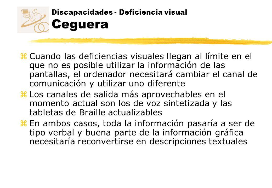 Discapacidades - Deficiencia visual Ceguera z Cuando las deficiencias visuales llegan al límite en el que no es posible utilizar la información de las