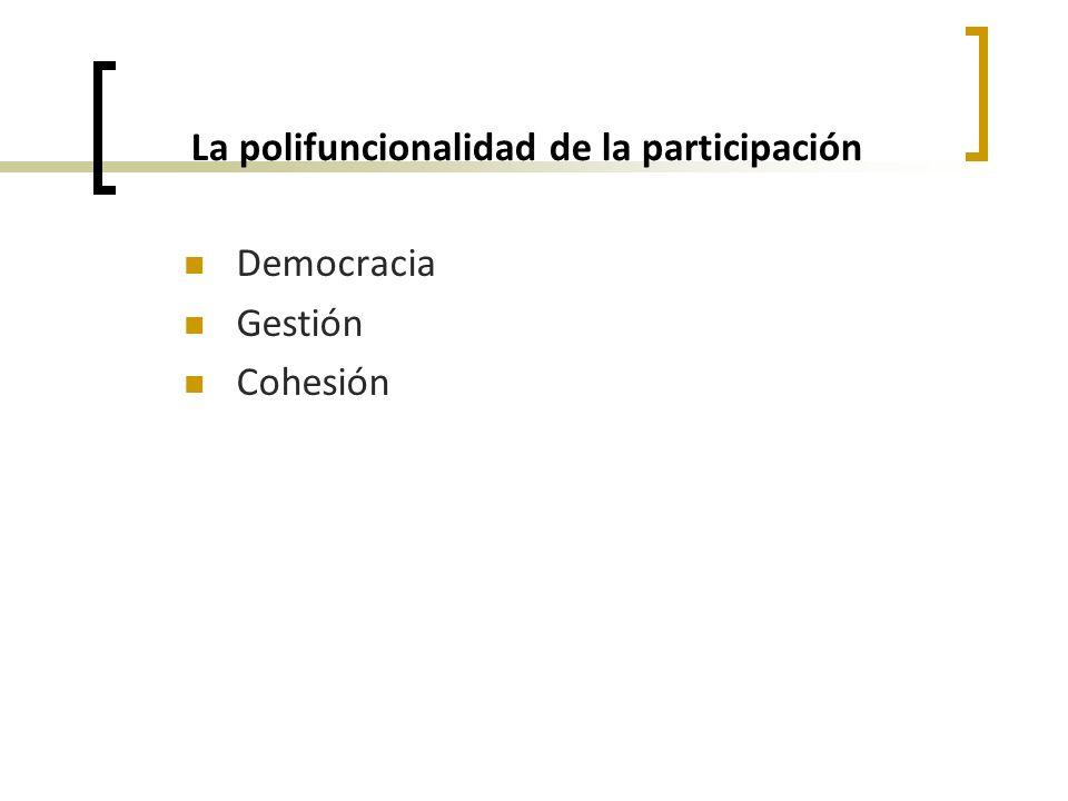 La polifuncionalidad de la participación Democracia Gestión Cohesión