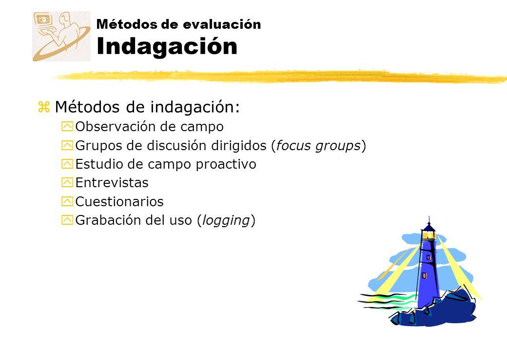 Métodos de evaluación Indagación zMétodos de indagación: yObservación de campo yGrupos de discusión dirigidos (focus groups) yEstudio de campo proacti